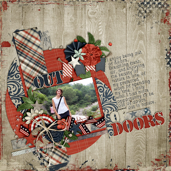 scrapbook layout, outdoors, hike
