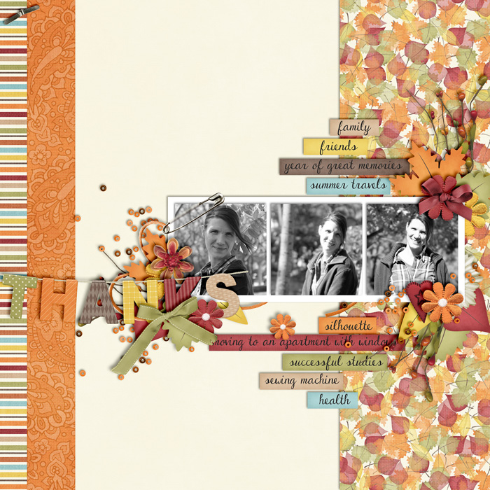scrapbook layout, autumn, thanksgiving