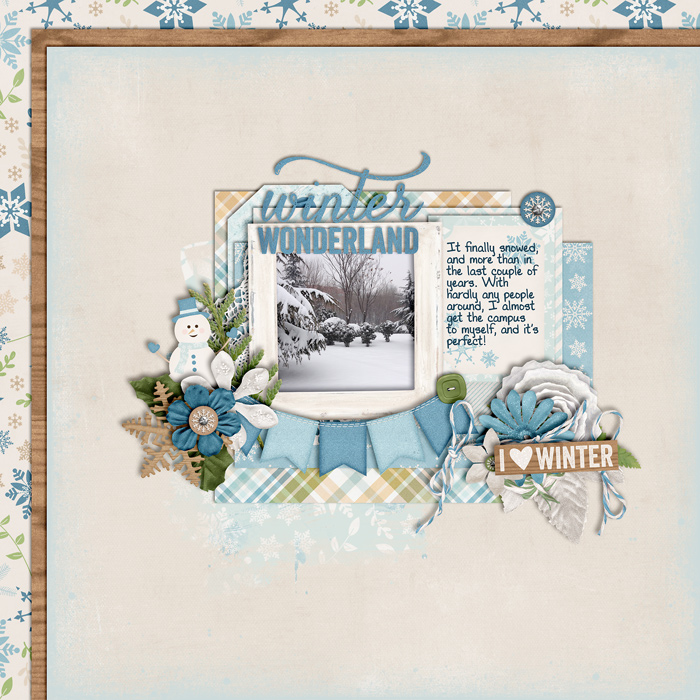 scrapbook layout, winter, snow