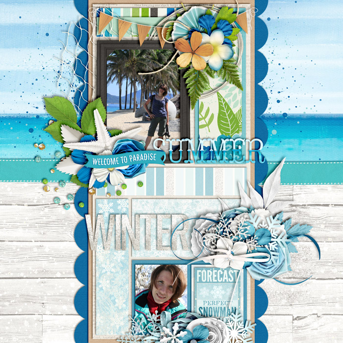 digital scrapbooking layout, opposites, summer, winter