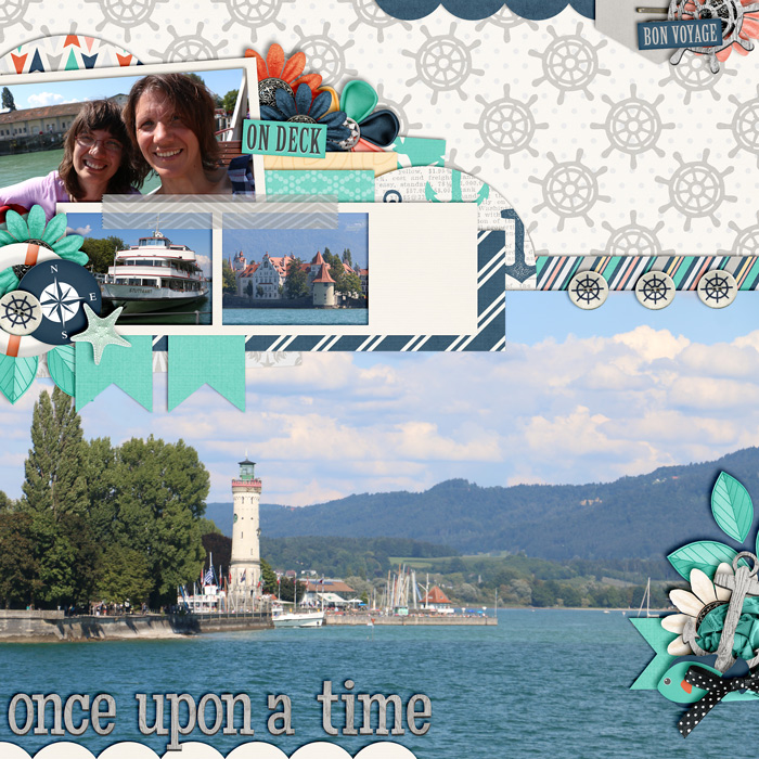 digital scrapbooking layout, outdoor, lake