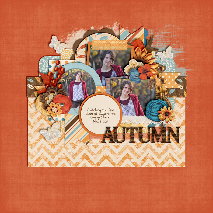 scrapbook layout, autumn