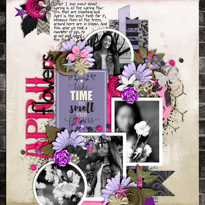 digital scrapbooking layout, spring