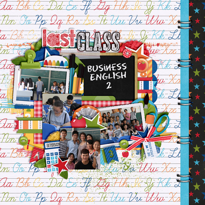 digital scrapbooking layout, school