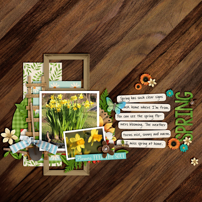 digital scrapbooking layout, spring, nature