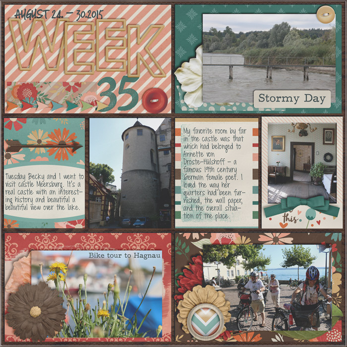 digital scrapbook layout, project life, journaling cards