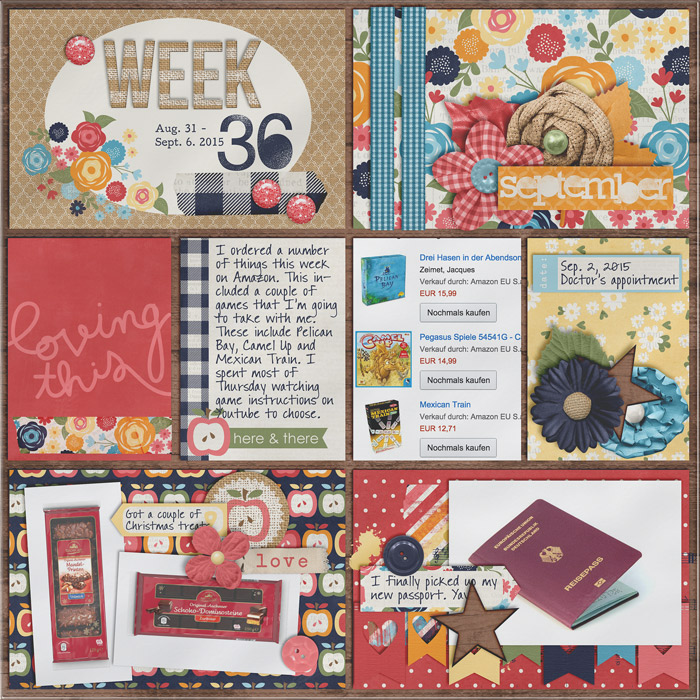 digital scrapbooking layout, project life, journaling cards
