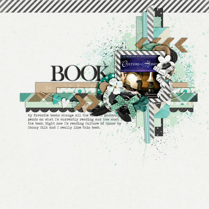 digital scrapbooking layout, book, reading