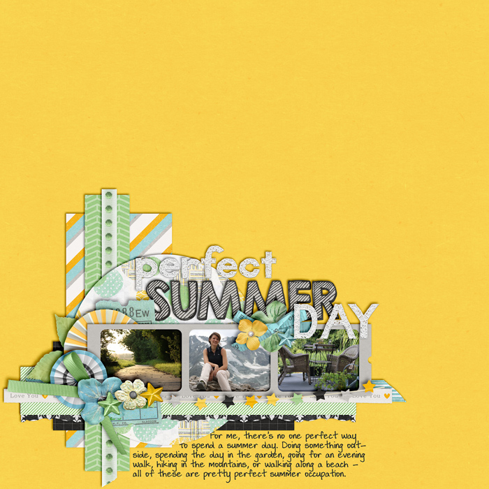 digital scrapbooking layout, summer, outdoors, hike, garden, walk