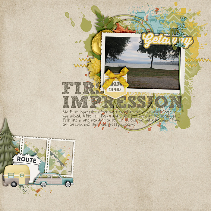 digital scrapbooking layout, outdoor, nature, lake
