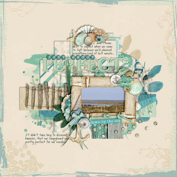 digital scrapbooking layout, beach, summer, travel
