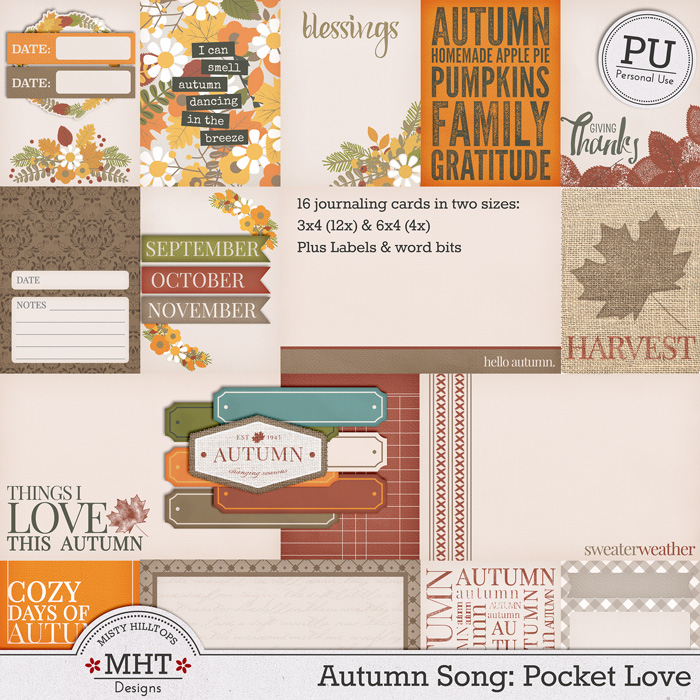 freebie friday, autumn, digital scrapbooking, project life, Misty Hilltops Designs