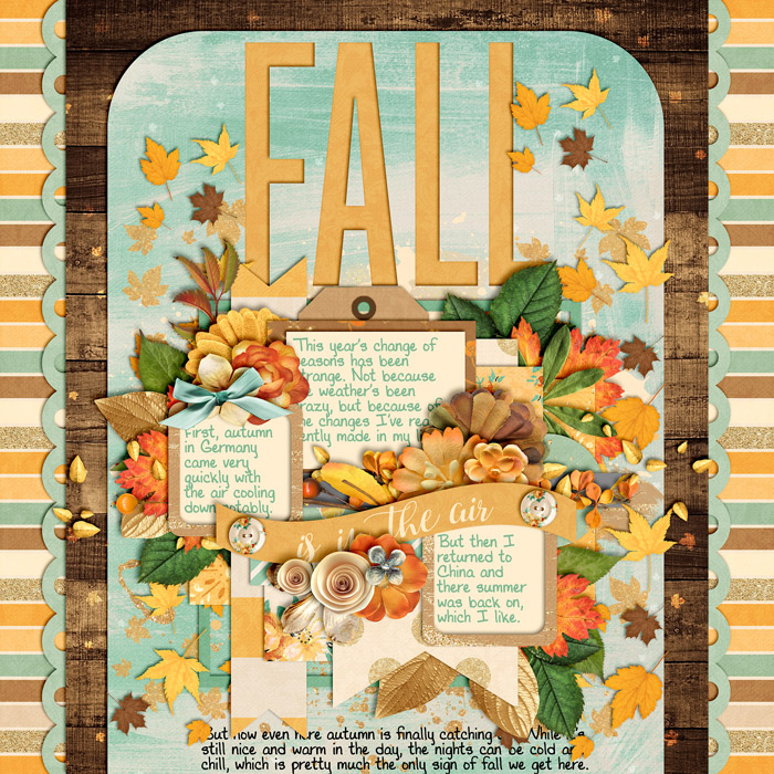 digital scrapbooking layout, autumn, journaling