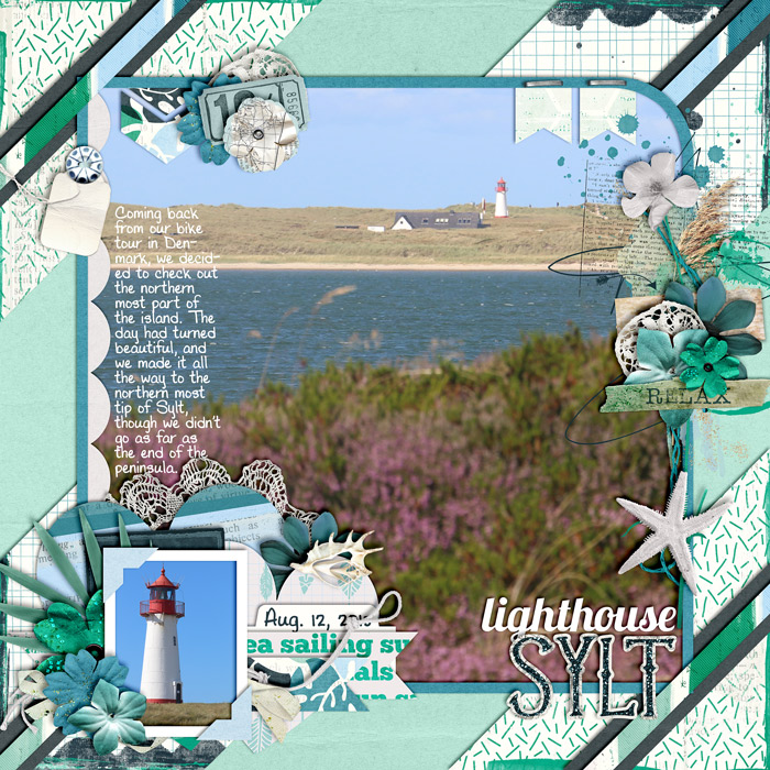 digital scrapbook layout, sylt, lighhouse, beach