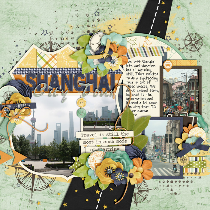 digital scrapbook layout, shanghai, travel