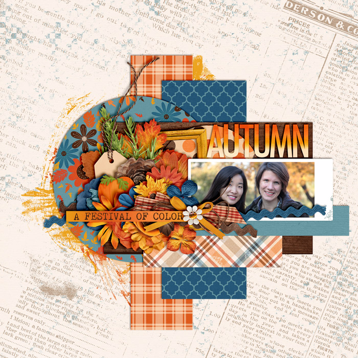digital scrapbooking layout, autumn