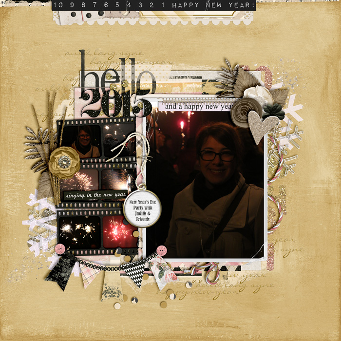 digital scrapbook layout, new year's eve, misty hilltops designs