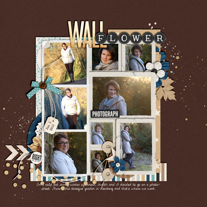 digital scrapbook layout, album, winter, misty hilltops designs, portrait