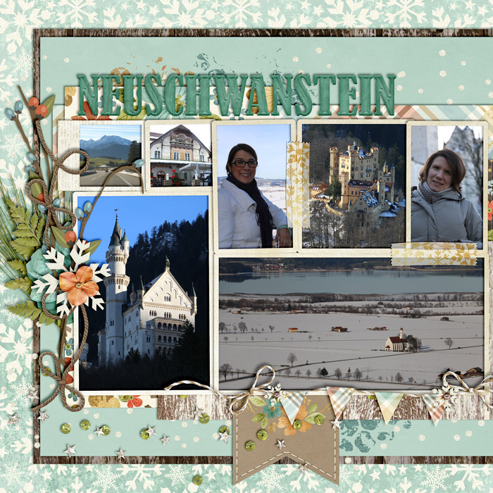 digital scrapbook layout, photo album, double page spread, misty hilltops designs