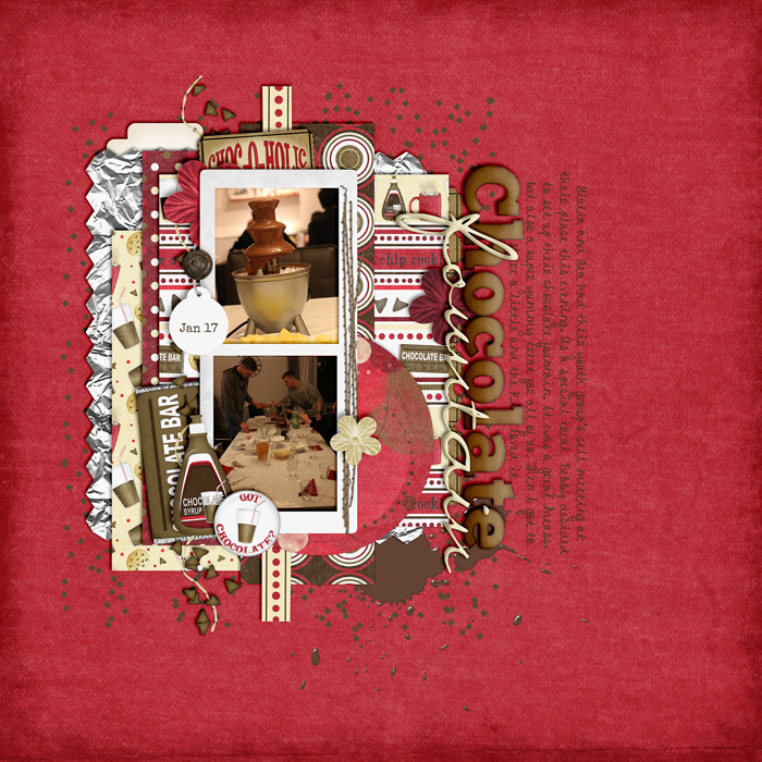 digital scrapbook layout, chocolate fountain, misty hilltops designs