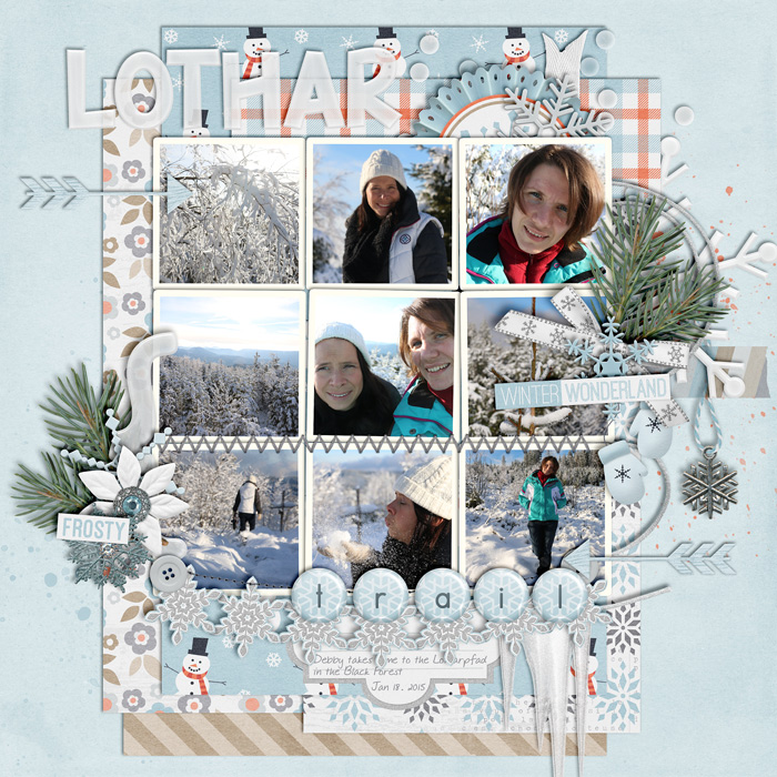 digital scrapbook layout, winter, photo album