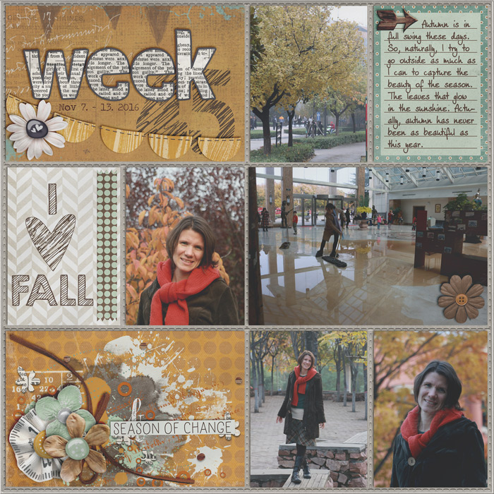project life, autumn, misty hilltops designs, digital scrapbook layout