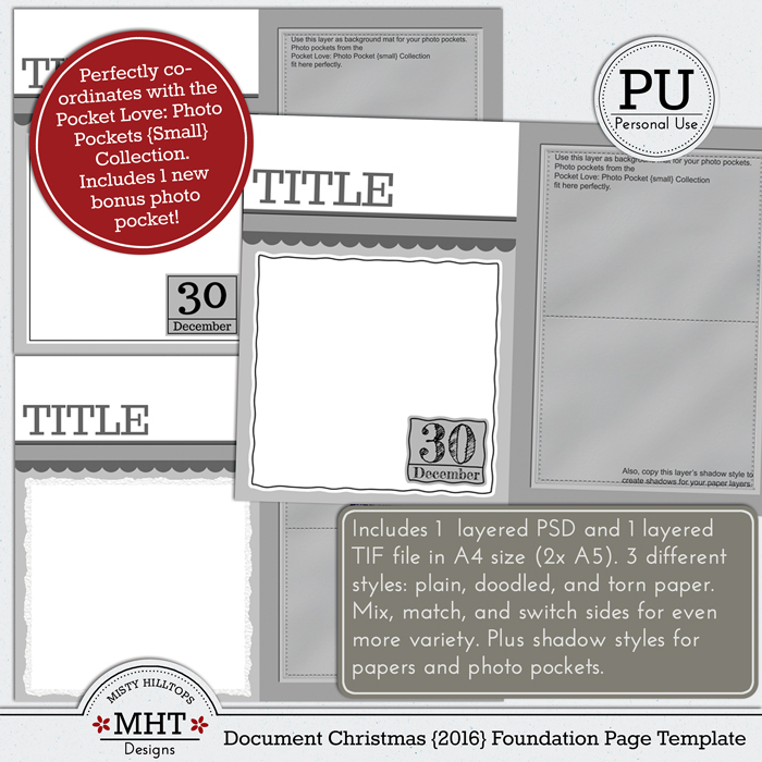 freebie, template, december daily, document christmas, misty hilltops designs