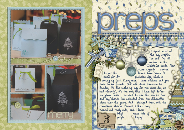 document christmas, december daily album, digital scrapbook layout, misty hilltops designs