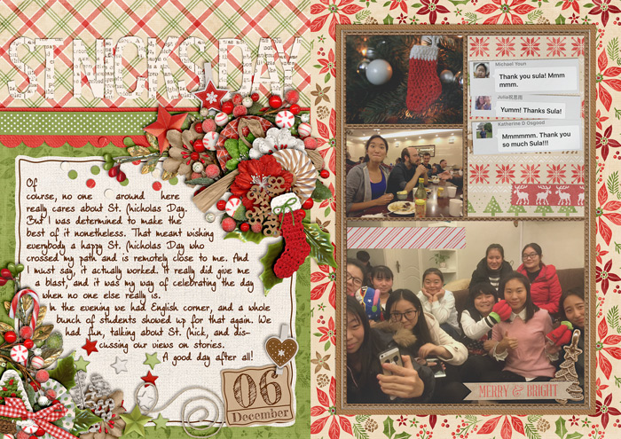 document christmas, december daily, album, digital scrapbook layout, misty hilltops designs