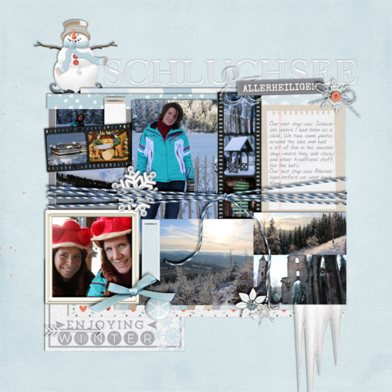 digital scrapbook layout, winter, misty hilltops designs