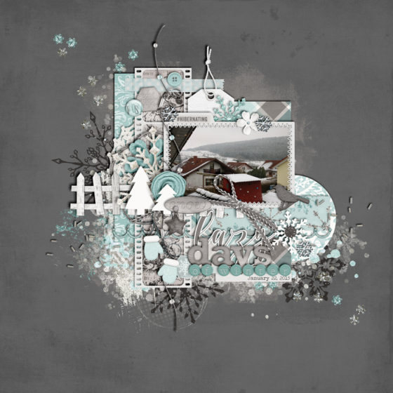 digital scrapbook layout, winter, double page spread