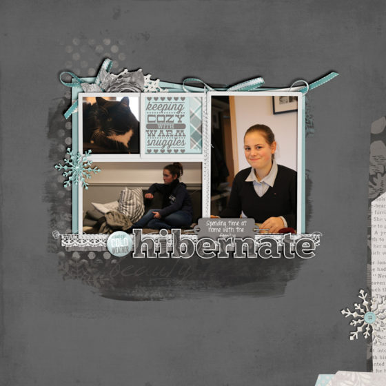 digital scrapbook layout, winter, album