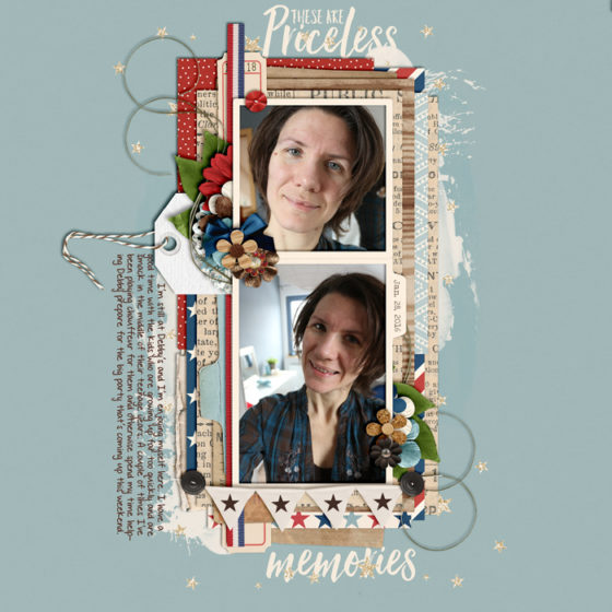 digital scrapbook layout, misty hilltops designs