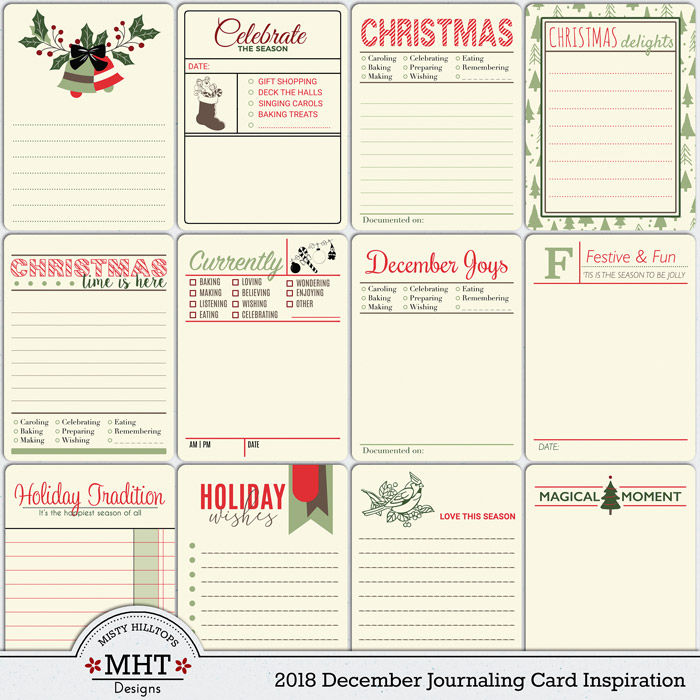 December journaling cards, christmas, december daily